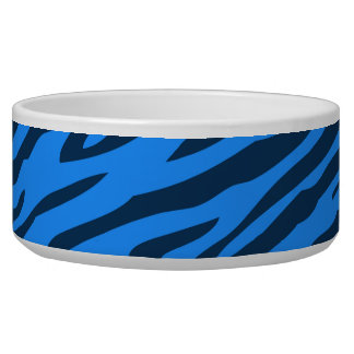 Retro Blue Pattern Zebra Abstract Art Bowl