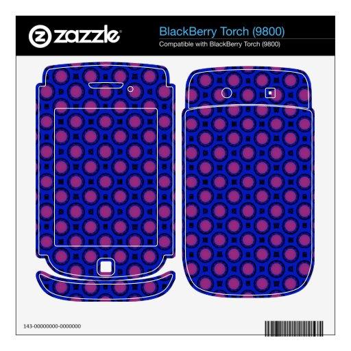 retro blue pink circle pattern BlackBerry torch decals