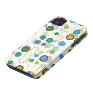 Retro Blue Pods Dots Pattern iPhone 4 CaseMate iPhone 4 Case