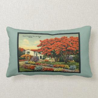 Retro Blue Poinciana Tree Florida Tropical Lumbar Pillow