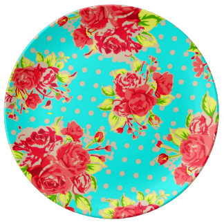 retro blue poke dots with roses porcelain plate