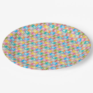Retro  Blue rainbow abstract  Paper plate
