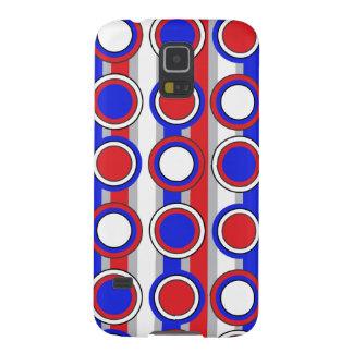 Retro Blue, Red Grey white circle stripes Pern Galaxy S5 Cases