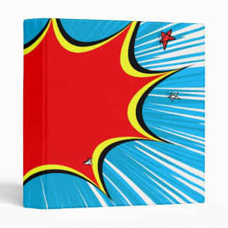 Retro Blue & Red Stars Comic Explosion Binder