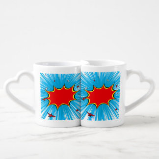 Retro Blue & Red Stars Comic Explosion Couples Coffee Mug