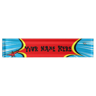 Retro Blue & Red Stars Comic Explosion Desk Name Plate