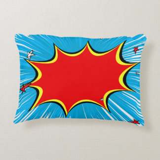 Retro Blue & Red Stars Comic Explosion Accent Pillow
