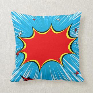 Retro Blue & Red Stars Comic Explosion Throw Pillows