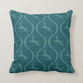 Retro Blue Reindeer Pattern Christmas Holiday Gift Throw Pillows