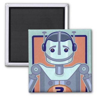 Retro Blue Robot Kids 2 Inch Square Magnet