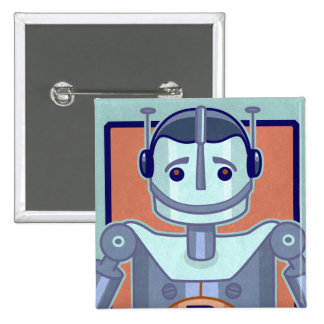 Retro Blue Robot Kids Button