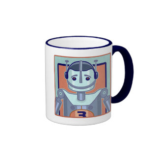 Retro Blue Robot Kids Coffee Mugs