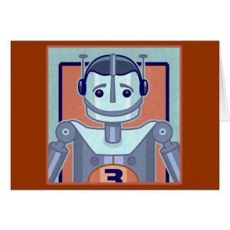 Retro Blue Robot Kids Greeting Cards