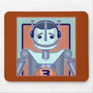 Retro Blue Robot Kids Mouse Pad