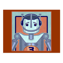Retro Blue Robot Kids Postcard