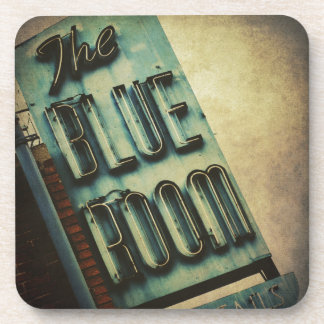 Retro Blue Room Cocktail Lounge Sign Beverage Coaster
