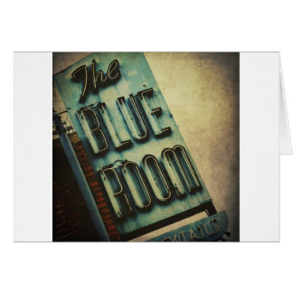 Retro Blue Room Cocktail Lounge Sign Card