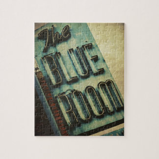 Retro Blue Room Cocktail Lounge Sign Jigsaw Puzzle