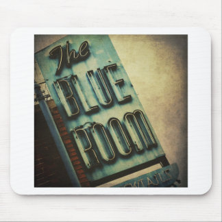 Retro Blue Room Cocktail Lounge Sign Mouse Pad