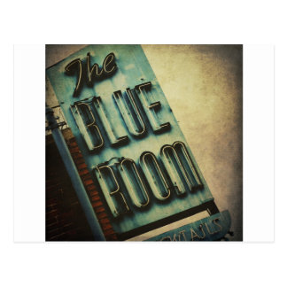 Retro Blue Room Cocktail Lounge Sign Postcard