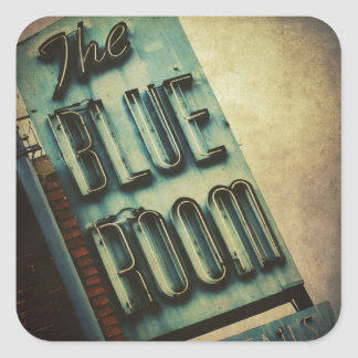 Retro Blue Room Cocktail Lounge Sign Square Sticker