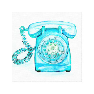 Retro Blue Rotary Phone Canvas Print Painting