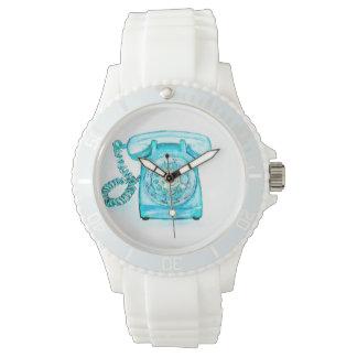 Retro Blue Rotary Phone Wrist Watch Turquoise