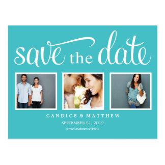 RETRO BLUE | SAVE THE DATE ANNOUNCEMENT POSTCARD