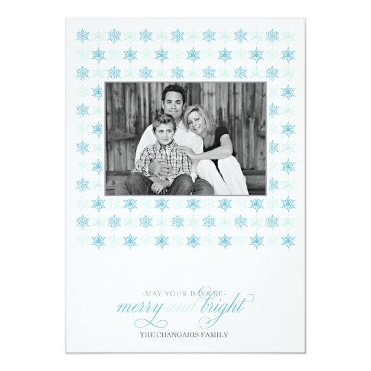 Retro Blue Snowflake Holiday Photo Card