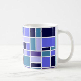 Retro Blue Squares Classic White Coffee Mug