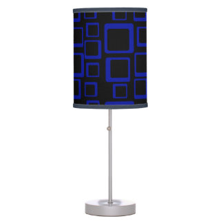 Retro Blue Squares On Black Table Lamp
