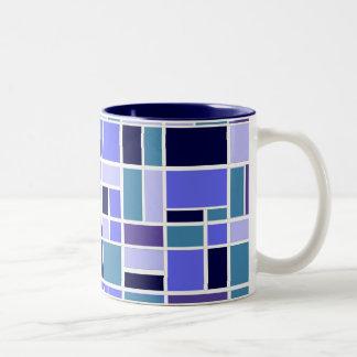 Retro Blue Squares Two-Tone Coffee Mug
