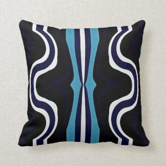 Retro Blue Stripe Pattern Throw Pillow
