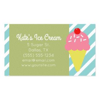 Retro Blue Striped Ice Cream Shop Business Cards