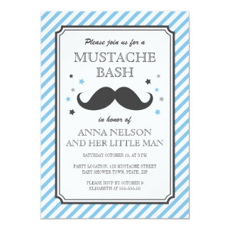 Retro blue stripes little man mustache baby shower card