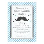 Retro blue stripes little man mustache baby shower custom invites