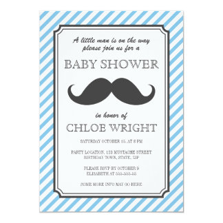 Retro blue stripes retro mustache bash baby shower card