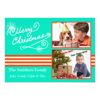 Retro Blue Style 2 Photo Family Christmas Card