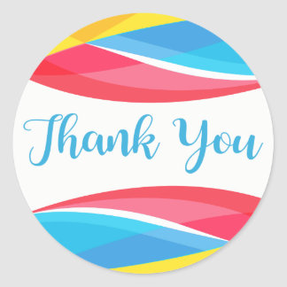 Retro Blue Thank You Abstract Rainbow Wave Red Classic Round Sticker