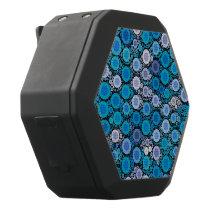Retro Blue Turquoise Pattern Black Bluetooth Speaker