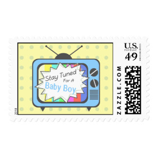 Retro Blue TV Set- Baby Boy Stamp