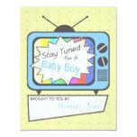 "Retro Blue TV Set Baby Shower Invitation 4.25"" X 5.5"" Invitation Card"