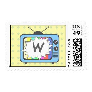 Retro Blue TV Set Mongram Postage Stamp