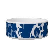 Retro blue white animal print texture of leopard bowl