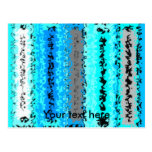 Retro blue white black psychedelic rectangles post card