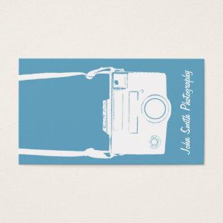 Retro Blue & White Vintage Film Camera Photography Business Card