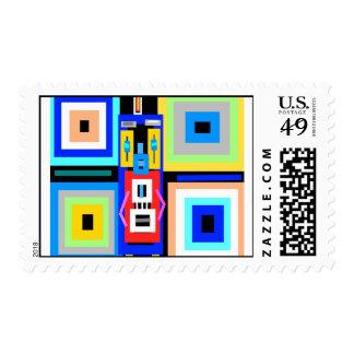Retro blue yellow black gray green robot man postage stamps