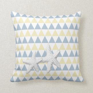 Retro Blue & Yellow Tri-Pattern Starfish Couple Pillow
