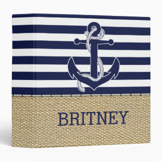 Retro Boat Anchor Cute Stripes Pattern Faux Burlap 3 Ring Binder