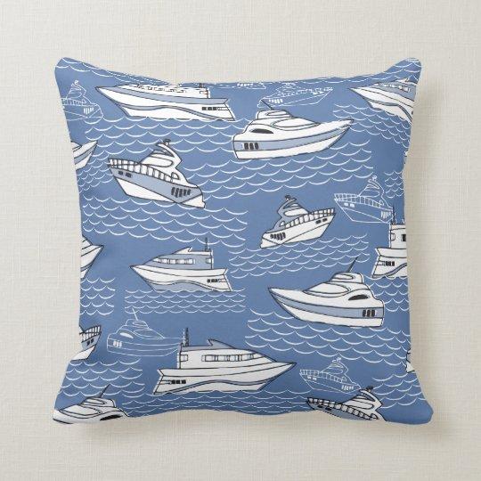 retro boats anchors wheel nautical pillow blue